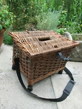 Vintage Wicker Cane Fishing Creel Storage basket Seat Woven