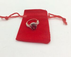 9ct Rose Gold Plated 925 Silver Deep Pink CZ Ring , RRP £30