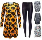 Womens Skull Costume Adult Halloween Legging Ladies Fancy Dress Outfit New 8-26