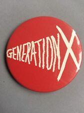Vtg Original Rare Generation X Pin Badge Button Punk Music 55mm Billy Idol