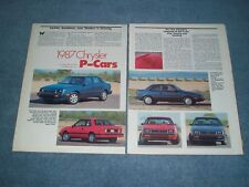 "1987 Dodge Shadow and Plymouth Sundance Vintage Info Article ""Chrysler P-Cars"""