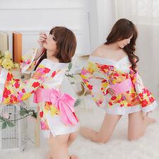 Costume Completino Bianco Fiori Kimono Giapponese Cosplay Vestaglia Japanese