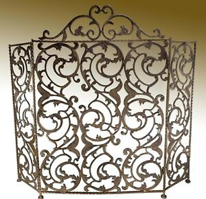 Ornate Heavy Cast Iron French Style Tri-Fold Fireplace Screen