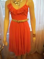 OLI PEACH FRILL STRAPPY CHIFFON DRESS WITH BELT SIZE 10, CLEARANCE