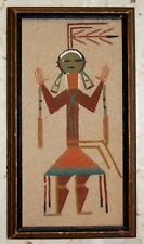 VINTAGE NATIVE AMERICAN SAND PAINTING ART NAVAJO PAINTING SIGNED ECLECTIC COOL