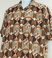 Vintage D'Avila Abstract Geometric Large Button Front Silky Shirt Short Sleeve