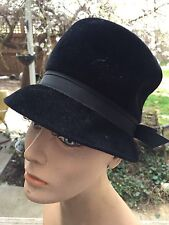 Vintage Ladies' Black Velour Hat With Black Nylon Band