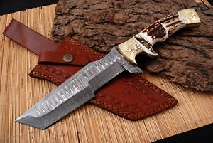 CUSTOM HAND FORGED DAMASCUS Steel Hunting Tracker Knife STAG HORN HANDLE+ sheath