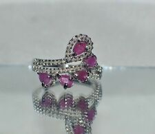 1.67ct GENUINE AFRICAN RUBY & GENUINE 55 SMALL DIAMOND  COCKTAIL GYPSY RING