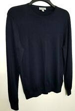 COS MENS JUMPER SWEATER S NAVY BLUE 100% WOOL THIN KNIT 328