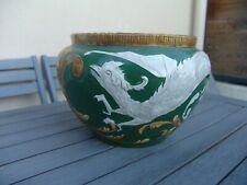 Cache pot ancien céramique fin XIX   asiatique ? cocatrix, basilic