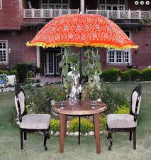silk zari embroidered work Red garden umbrella big sun protect patio parasol