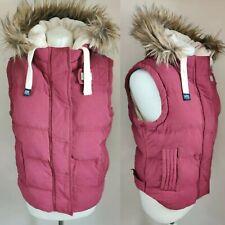 Superdry University Women Vest Gilet Size M UK 8/10 Hood Faux Fur Zip Front NEW