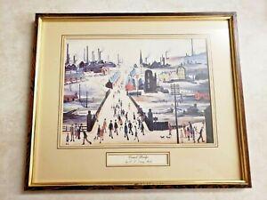 J S Lowry RA Graphic Arts (Canal Bridge) Framed Art Vintage