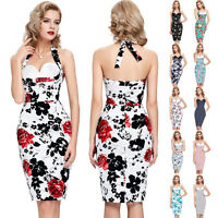 50'S RETRO VINTAGE WIGGLE PIN UP PROM EVENING PARTY PENCIL MIDI COCKTAIL DRESS