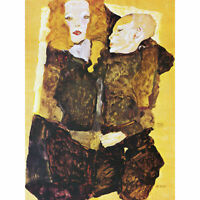 Schiele Mother Child Painting Large Canvas Art Print
