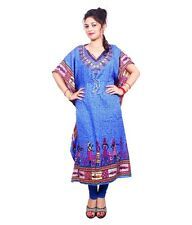 Beautiful African Blue Kaftan Free Size Maxi Dress Beach Casual Evening Wear
