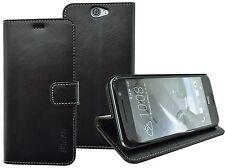 HTC One A9 Libro de Bolsillo Style Funda Cuero Estuche Protectora en Negro
