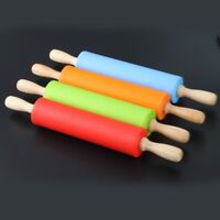Non-Stick Silicone Rolling Pin Pastry Baking Decorating Tool Dough Roller Pop UK