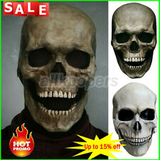 Halloween Full Head Skull Mask Helmet With Movable Jaw Party Latex Prop Headgear