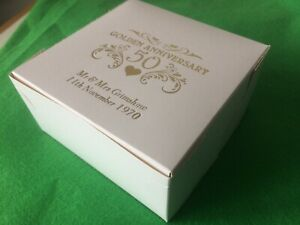 """20 x PERSONALISED CAKE BOXES 5"""" GOLDEN 50th WEDDING  ANNIVERSARY PARTY"""