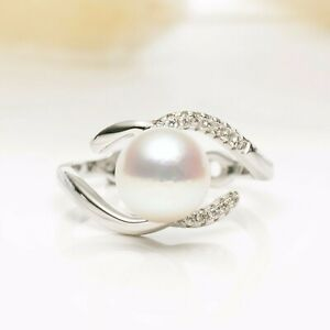 Round 8.2mm+ White Japanese Akoya Saltwater Pearl Ring Sterling Silver,7#