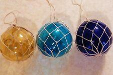 3 Vintage Hand Blown Glass Fishing Floats w Net Cobalt Blue+Amber+Blue Japan