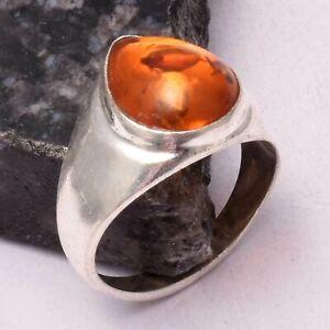 Amber Ethnic Handmade Man's Ring Jewelry US Size-10.25AR 7495