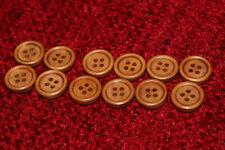 AFFARE - 12 x ROUND pulsanti in legno - 4 FORI 15 mm-Caffè