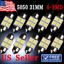 10 X White 31MM 5050 4SMD Festoon Dome Map Interior LED Light bulbs DE3175 3022