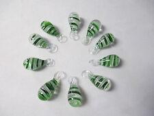 GREEN WHITE SWIRL GLASS Lampwork Pendants New lot of 10 - Focal Bead Wholesale