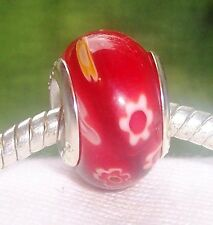 Red White Flower Millefiori Glass Bead for Silver European Style Charm Bracelets