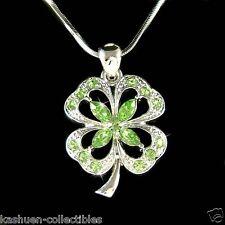 w Swarovski Crystal Irish St Patricks ~4 Leaf Clover~~ Shamrock Pendant Necklace
