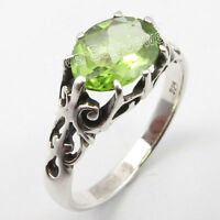 .925 Solid Silver FACETED GREEN PERIDOT Cage Setting HANDWORK Ring Any Size NEW