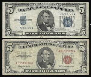 US - $5.00 Pair (1934D Silver Cert.) & (1963 Red Seal)  FINE
