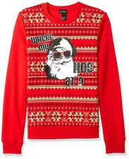 Alex Stevens Men's Where My Hosugly Christmas Sweater, Red, XXL