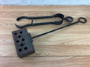 Vintage Black Metal Fire Place Tongs And Chestnut Roaster