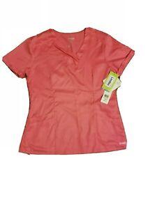 Landau Asymmetrical Neckline Scrub Top Shirt. New Medium Tencel Carnation Pink