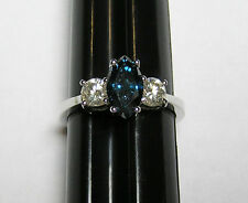 14kt White Gold Blue and White Diamond Ring