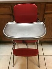 VINTAGE COSCO RED BABY HIGH CHAIR 1950'S 1960'S RED VINYL AND CHROME