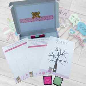 BABY SHOWER ACTIVITY BOX GAMES FINGER PRINT TREE, DECORATIONS, PHOTO BOOTH PROPS
