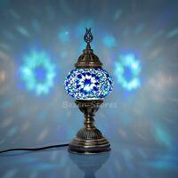 Turkish Moroccan Mosaic Table or Bedside Lamp,mosaic lamp Big Globe Blue Cube