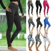 Womens High Waist Yoga Pants Pockets Fitness Gym PUSH UP Leggings Sport Trousers