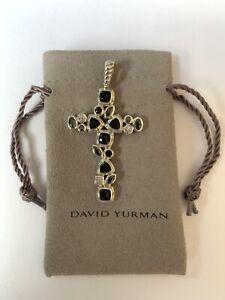Large David Yurman Onyx Hematite Diamond Confetti Cross Pendant $2,300 W New Bag