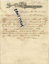 1884 letterhead GALVESTON TEXAS Sheriff William Owens ATTORNEY WL O'NEILL GiebeL