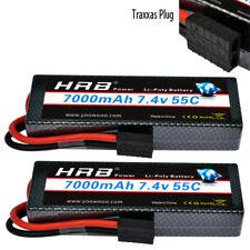 2pcs HRB 2S 7.4V 7000mAh 55C 110C Hard Case Lipo Battery 1/10 Traxxas Car Truck