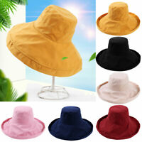 GI- EB_ BH_ Summer Wide Turned Edge Solid Color Fisherman Sun Hat Outdoor Women