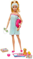 Barbie Spa Doll, Blonde, Including Neck Pillow, Rubber Duck and Cucumber Eye Mas