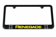 Jeep Renegade License Plate Frame - Satin Black - Silver & Yellow Engraved Logos