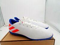 adidas Men's Nemeziz Messi 19.4 Turf Soccer Shoe, White/Solar Red/Blue,sz 13.5 M